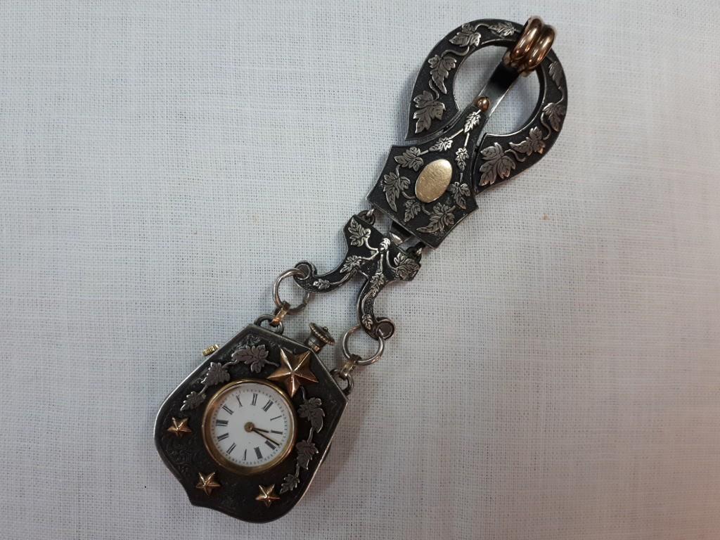 שטלן עם שעון כיס ויקטוריאני - כסף ועיטורי עלים מוזהבים-  יפהפה ונדיר ביותר