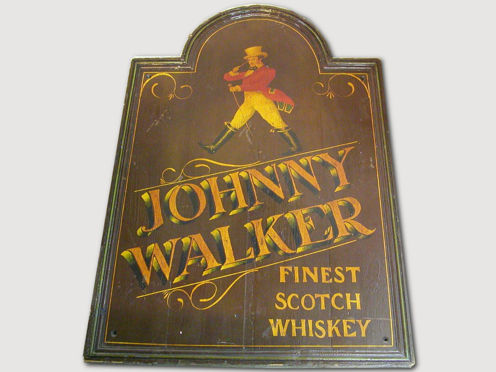 """שלט ייחודי מעץ לוויסקי """"ג'וני ווקר"""" - מצויר ביד ונועד לבר או חנות יינות"""