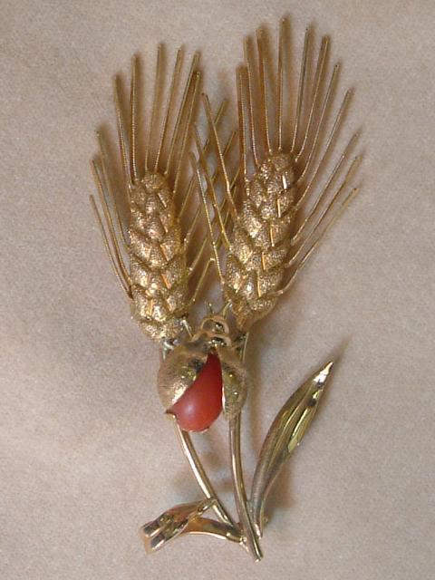 Wheat Shaped Art Nouveau Brooch with Coral Beetle