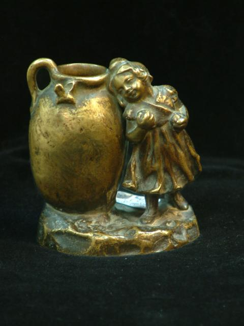 Tereszczuk Bronze Sculpture - Young Rural Girl Leaning on Pitcher