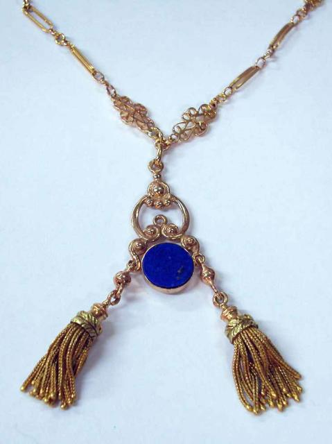 Antique Necklace with Lapis Pendant