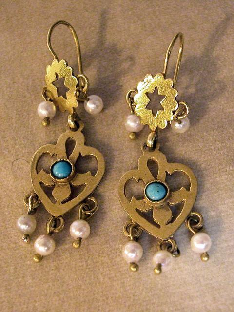 Pearls and Turquoise Earrings