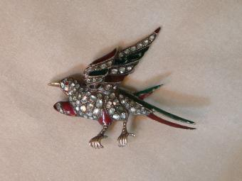 Antique Rose-Cut Diamonds and Enamel Bird Pin