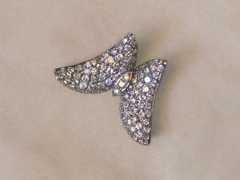 Butterfly Shaped Art Deco Brooch with Diamonds