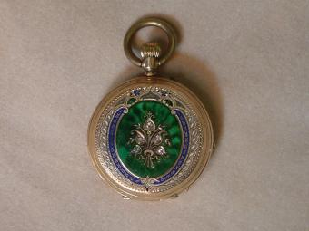 19th Century Pocket Watch With Rose-Cut Diamonds and Enamel