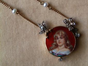 Enameled Art Nouveau Pendant of Girl with Diamonds