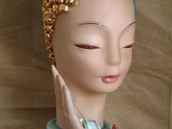 Goldscheider Porcelain Head with Golden Curls