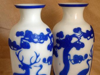 Peking Glass Twin Vases