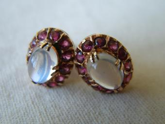 Moonstone Earrings with Rubies