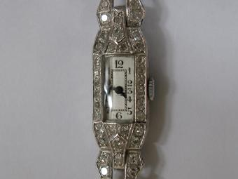 Platinum Art Deco Watch with Diamonds