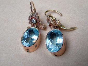Fifties Aquamarine and Diamond Earrings