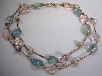 Gold Russian necklace with Rose Quartz, Aquamarine and Pearls