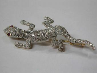 Glowing Lizard Pendant Pave Set with Diamonds and 2 Rubies