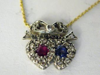 Double Hearts Shaped Pendant with Rose Cut Diamonds, Ruby and Sapphire