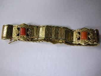 Rare Gold Bracelet with Corals from 40s