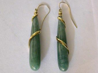 Cone shaped Jade Earrings