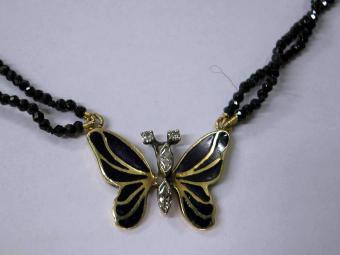 Butterfly Enamel and Diamonds Necklace