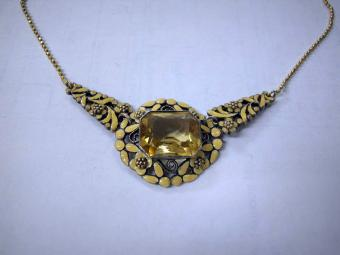 """Arts and Crafts"" Necklace with Large Citrine"