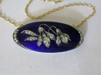 Enameled Art Nouveau Pendant with Diamonds