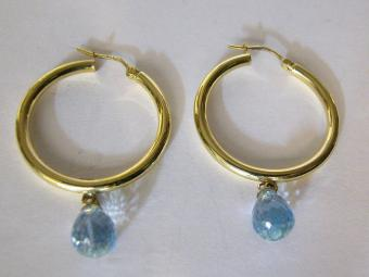 Blue Topaz Gypsy Earrings