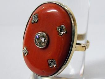 Coral Ring with Diamond