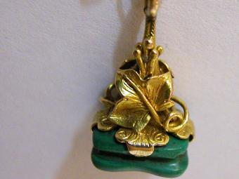Gold Seal Shaped Pendant with Malachite