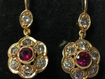 Ruby and Diamonds Earrings