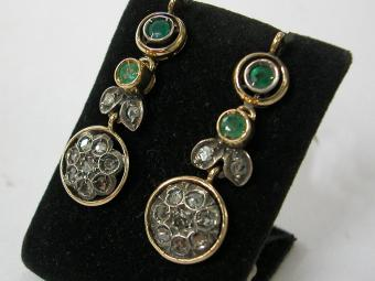 Emerald and Rose Cut Diamonds Earrings