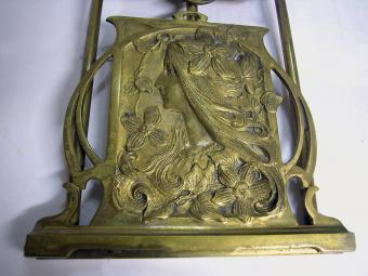 Art Nouveau Yellow Bronze Bookends
