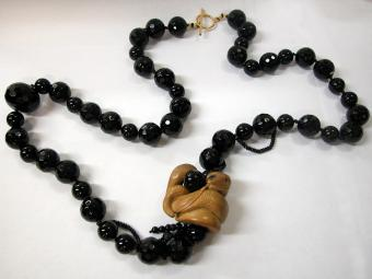 Onyx Necklace with Snake Shaped Netsuke