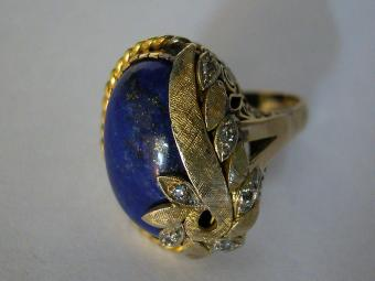 Beautiful Lapis and Diamonds Ring