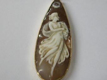 Tear Shaped Cameo Pendant with Dancer