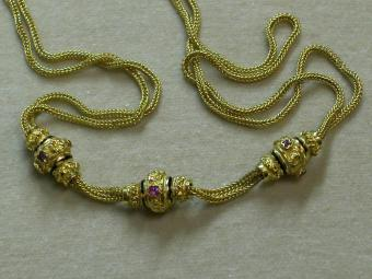 Antique French Watch Necklace with Three Slides