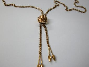 Long Gold Necklace with Slide
