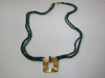 Retro Emeralds and Sapphires Necklace