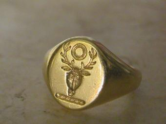 Antique Signet Ring with Deer Head Intaglio