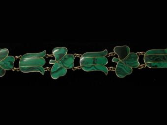 Bracelet with Malachite Clovers and Tulips