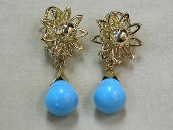 Large Gold and Turquoise Earrings