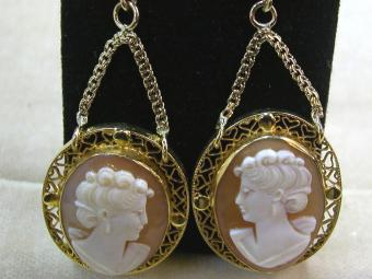 Gold Earrings with Cameos