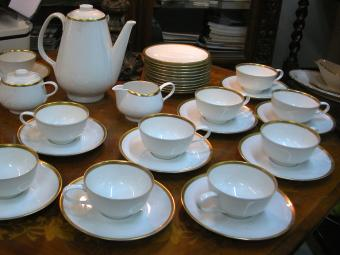 Rosenthal China Set for Coffee or Tea with Golden Strip
