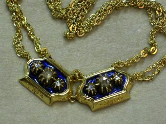 Blue Enamel Pendant with Rose Cut Diamonds