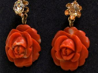 Coral and Diamonds Earrings