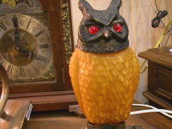 Owl Shaped Bronze and Glass Table Lamp