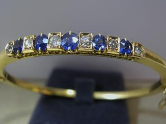 Antique Diamonds and Blue Sapphires Bangle