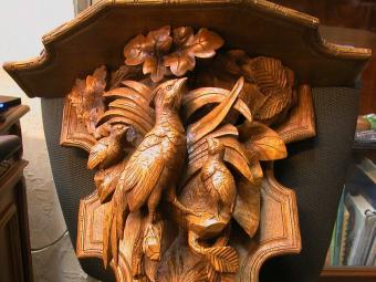 Carved Wood Shelf Depicting Bird and Chicks