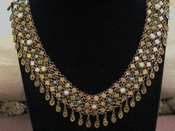 Yemenite Designed Silver-gilt Necklace with Filigree