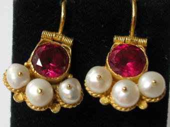 Antique Bukharian Earrings with Red Stones and Pearls