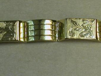 Gold Bracelet from Fourties with Hand made Decorations