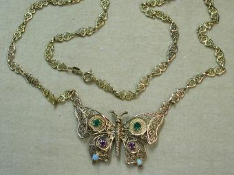 Gold Filigree Necklace with Butterfly Pendant