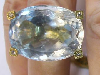 25 Carat Aquamarine Ring with Diamonds